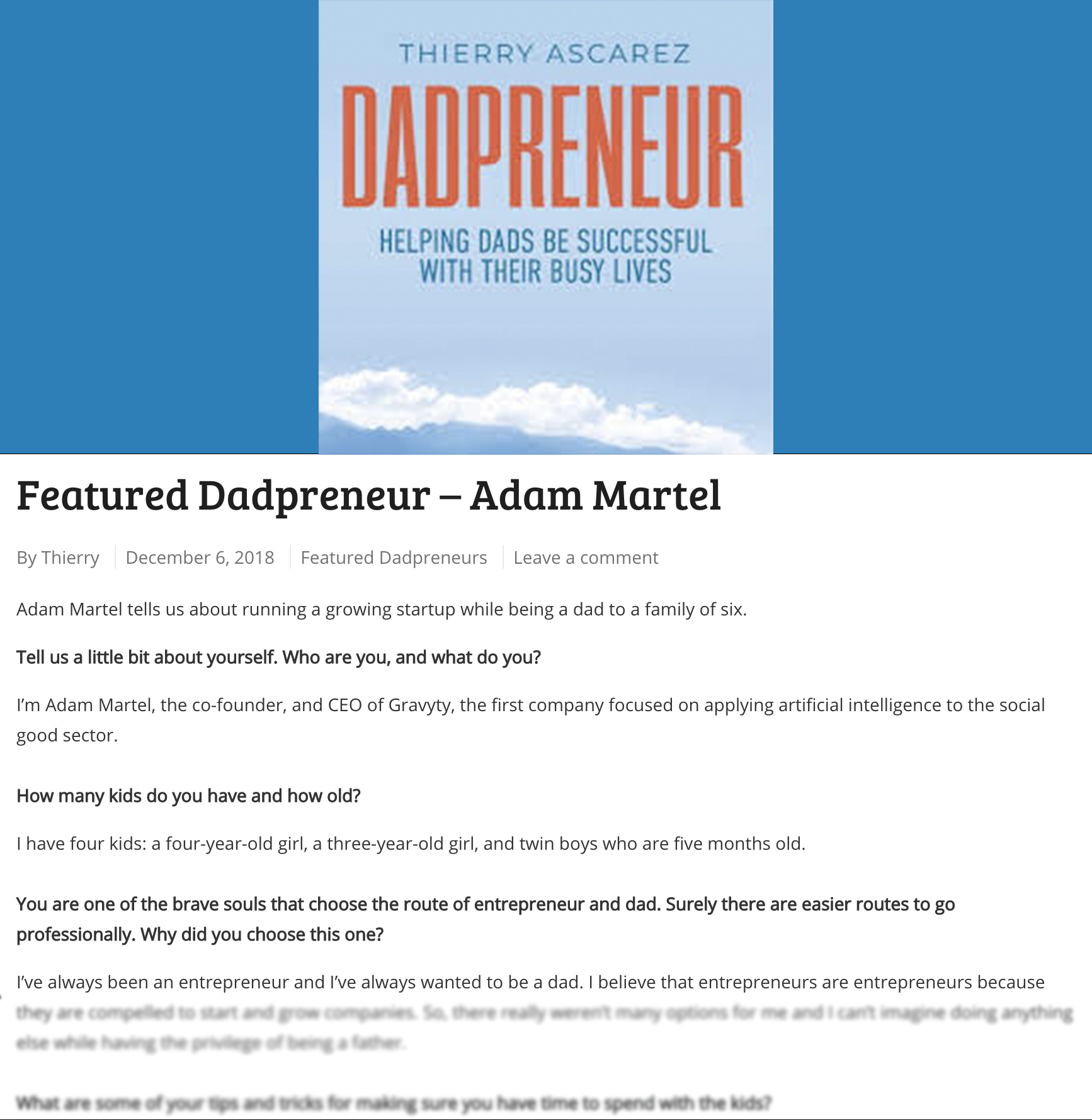 Adam Martel, Featured Dadpreneur